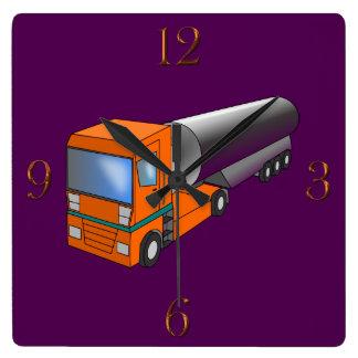 Gas-Tanker-LKW-schwerer Transporter für Kinder Quadratische Wanduhr