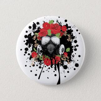 Gasmaske mit Rosen 2 Runder Button 5,7 Cm