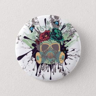 Gasmaske mit Rosen Runder Button 5,7 Cm
