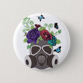Gasmaske mit Roses3 Runder Button 5,1 Cm