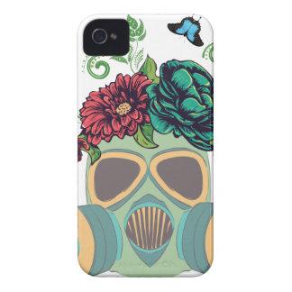 Gasmaske mit Roses4 iPhone 4 Cover