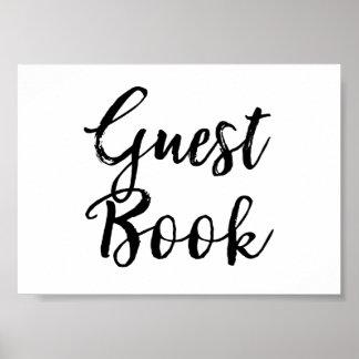 Gast-Buch-Hochzeits-Zeichen-elegantes gebürstetes Poster
