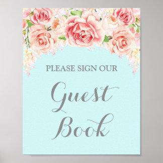 Gast-Buch-Zeichen-Rosawatercolor-Blumen blau Poster