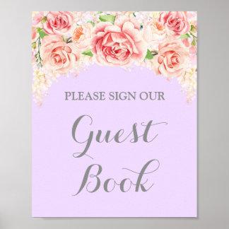 Gast-Buch-Zeichen-Rosawatercolor-Blumen lila Poster