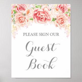 Gast-Buch-Zeichen-Rosawatercolor-Blumen Poster