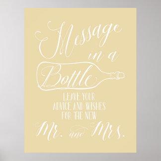 Gast-Buchzeichen - Mitteilung in einer Flasche Poster
