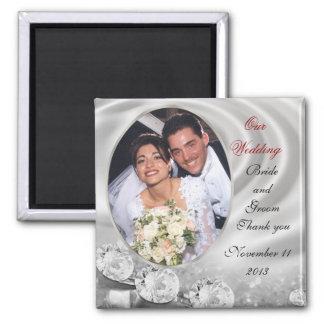 Gastgeschenk Hochzeitsdiamant-Foto Magnet Quadratischer Magnet