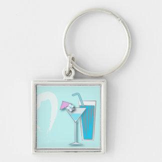 Gastgeschenke Hochzeit Chic-blaue Hawaiis Martini Silberfarbener Quadratischer Schlüsselanhänger