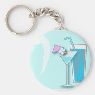 Gastgeschenke Hochzeit Chic-blaue Hawaiis Martini Standard Runder Schlüsselanhänger