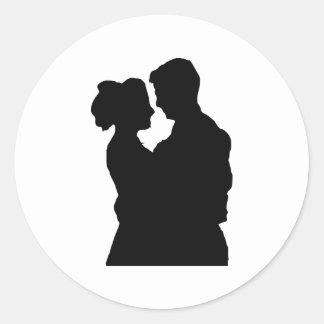 Gastgeschenke Hochzeit - Paar-Silhouette Runder Aufkleber