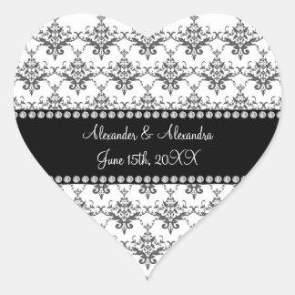 Gastgeschenke Hochzeits-Weißdamast Herz-Aufkleber