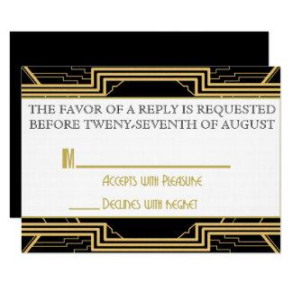 Gatsby Goldhochzeits-Reihen-Einladung UAWG Karte