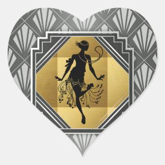 Gatsby Prallplatten-Kunst-Deko-Aufkleber Herz-Aufkleber