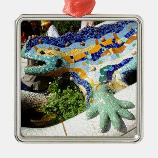 Gaudi Eidechsen-Mosaiken Silbernes Ornament