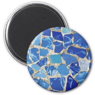 Gaudi Mosaiken mit einer Öl-Touch Runder Magnet 5,1 Cm