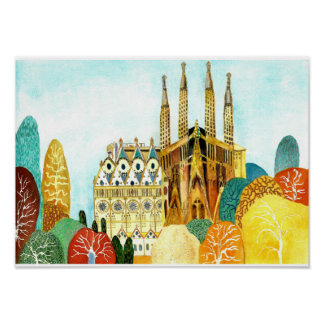 Gaudis Barcelona Poster