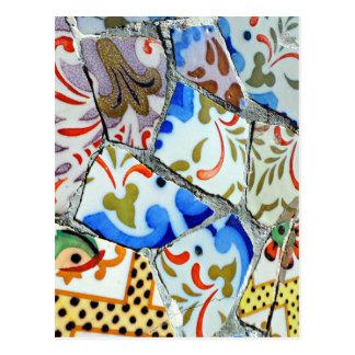 Gaudis Park Guell Mosaik-Fliesen Postkarte
