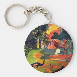 Gauguin Landschaft mit Pfau-Schlüsselkette Standard Runder Schlüsselanhänger
