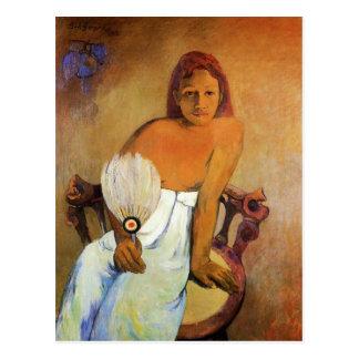Gauguin Mädchen mit einer Fan-Postkarte Postkarte