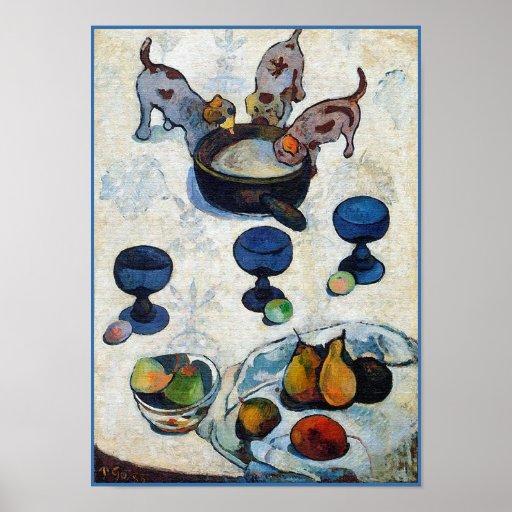 Gauguin Malerei: Stillleben mit 3 Welpen Poster