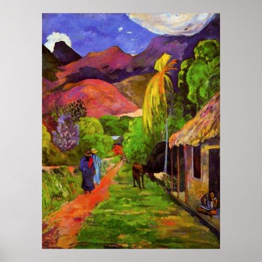 Gauguin Straße in Tahiti-Plakat