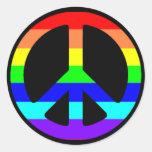 Gay Pride-Friedenssymbol-Aufkleber (Text optional)