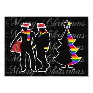 Gay Pride-frohe Weihnacht-homosexuelle Jungen und 12,7 X 17,8 Cm Einladungskarte
