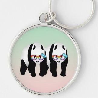 Gay Pride-Hipster-Pandas Silberfarbener Runder Schlüsselanhänger