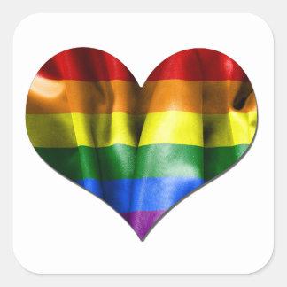 Gay Pride-Liebe-Herz-Flagge Quadratischer Aufkleber