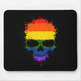 Gay Pride-Regenbogen-Bratenfett-Spritzer-Schädel Mousepad