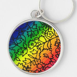 Gay Pride-Regenbogen-Farben, schnüren sich Blumen, Silberfarbener Runder Schlüsselanhänger
