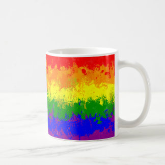 Gay Pride-Regenbogen-Farben-Spritzer-Flaggen-Tasse Tasse