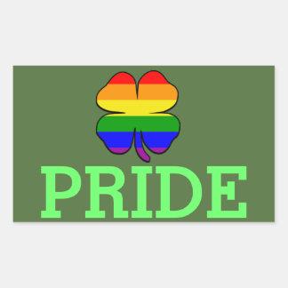 Gay Pride-Regenbogenflagge Kleeblatt Rechteckiger Aufkleber