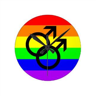 Gay Pride Runde Wanduhr