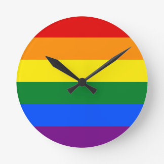 Gay Prideflagge Runde Wanduhr