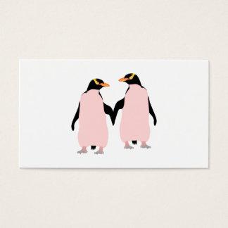 Gay Pridelesbische Penguins, die Hände halten Visitenkarte