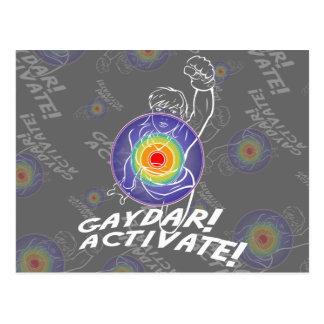 Gaydar! Aktivieren Sie! Regenbogen-Lesbe Postkarte