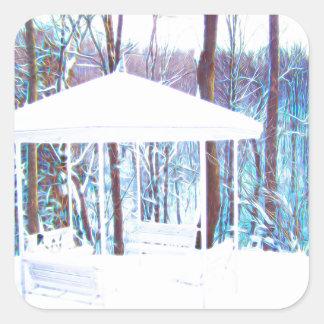 Gazebo im Winter Quadratischer Aufkleber