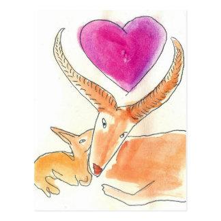 Gazelle - eine Mutter-Liebe Postkarte