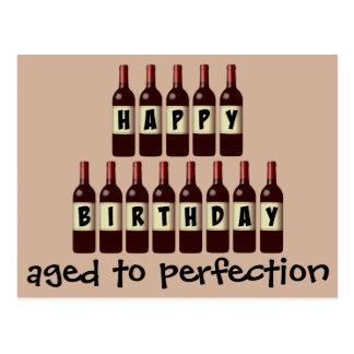 Gealtert zu Perfektions-Wein-Liebhaber-alles Gute Postkarte