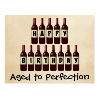 Gealtert zu Perfektions-Wein-Liebhaber-alles Gute Postkarten