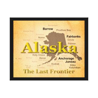 Gealterte Alaska-Karten-Silhouette Leinwanddruck