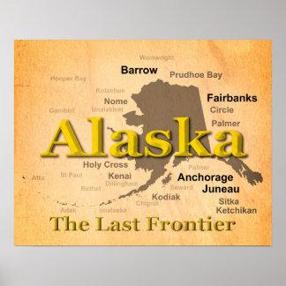 Gealterte Alaska-Karten-Silhouette Poster
