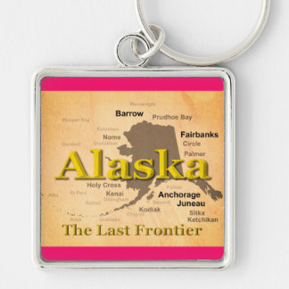 Gealterte Alaska-Karten-Silhouette Schlüsselanhänger