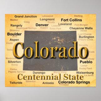 Gealterte Colorado-Staatsstolz-Karten-Silhouette Poster