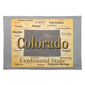 Gealterte Colorado-Staatsstolz-Karten-Silhouette Stofftischset