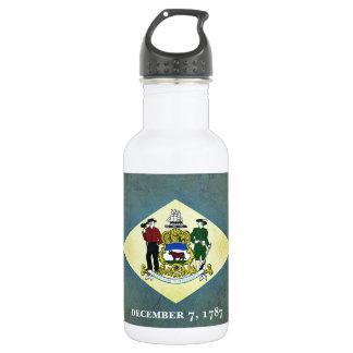 Gealterte Delaware-Flagge Edelstahlflasche