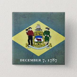 Gealterte Delaware-Flagge Quadratischer Button 5,1 Cm