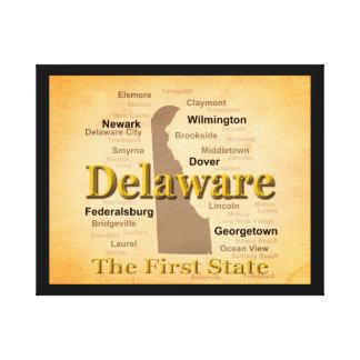 Gealterte Delaware-Staatsstolz-Karte Leinwanddruck