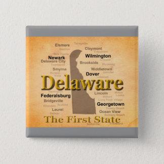 Gealterte Delaware-Staatsstolz-Karte Quadratischer Button 5,1 Cm